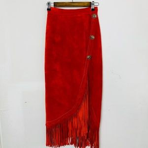 CONTINENTAL fringed concho faux suede skirt